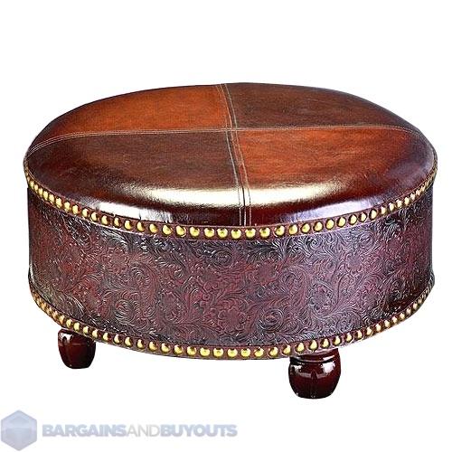 howard elliott faux leather round ottoman century brown and dark caramel ebay. Black Bedroom Furniture Sets. Home Design Ideas