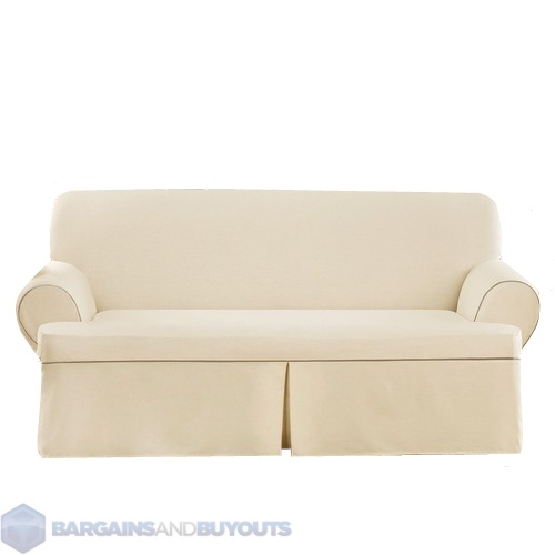 Sure Fit Cotton Duck Sofa T Cushion Cotton Blend Slipcover Natural Cocoa Ebay