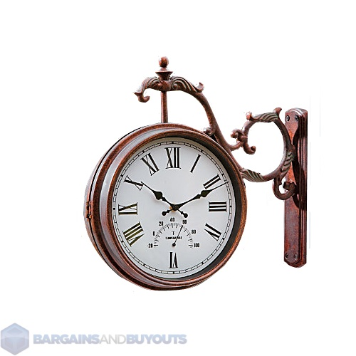 Double Sided Outdoor Wall Hanging Clock Amp Thermometer