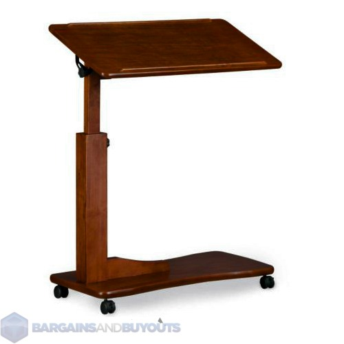 """Adjustable Bedside Table 31-3/4""""W x 15-3/4""""D In Dark Cherry Finish ..."""