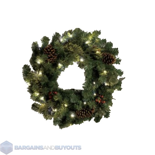 lighted indoor christmas wreath 24 battery operated. Black Bedroom Furniture Sets. Home Design Ideas