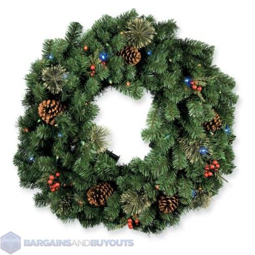 battery led lighted christmas wreath 30 multi colored. Black Bedroom Furniture Sets. Home Design Ideas