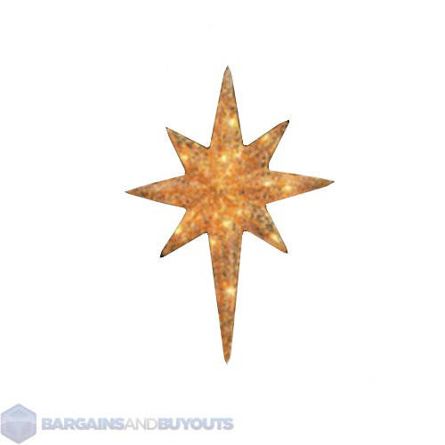 Outdoor christmas gold star of bethlehem with incandescent