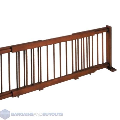 Heavy Duty Large Wooden Expanding Pet Gate Rubbed Walnut