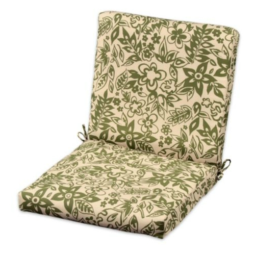 Set of three outdoor hinged back seat cushions bogota green print 391135 ebay - Hinged outdoor cushions ...