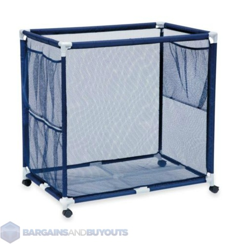 outdoor blue nylon mesh pool toy storage bin with casters extra large 417235 ebay. Black Bedroom Furniture Sets. Home Design Ideas