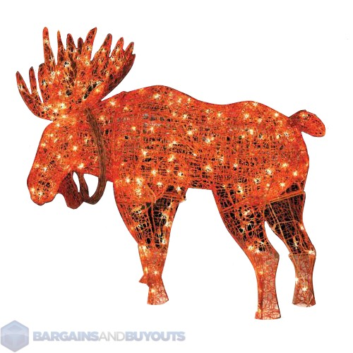 Outdoor Metal Frame Lighted Moose Christmas Decoration ...