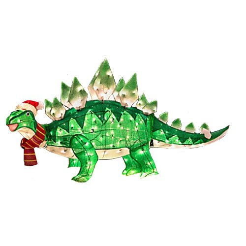 Outdoor holiday animated tinsel stegosaurus christmas for Animated tinsel dinosaur christmas decoration