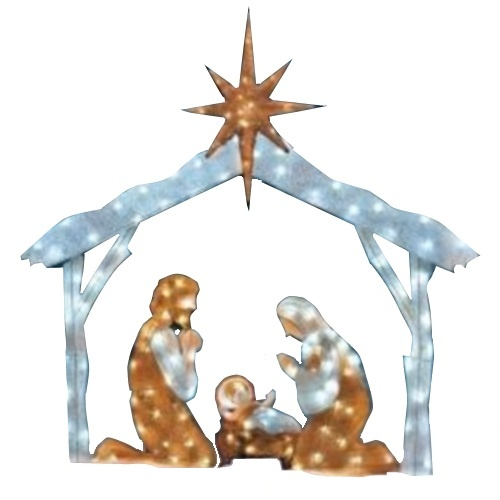 Outdoor Christmas Twinkling Tinsel Nativity Scene With LED
