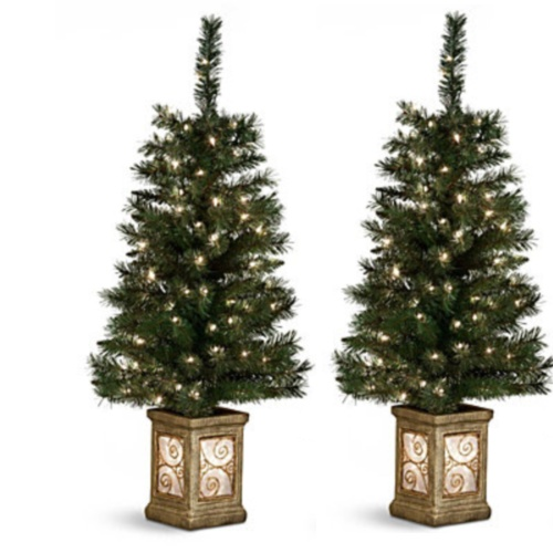 set of 2 4 39 tall pre lit outdoor entryway porch trees 369477 clear mini light ebay. Black Bedroom Furniture Sets. Home Design Ideas