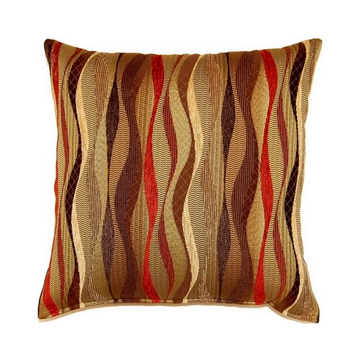 set of 2 new wave brick 17 inch accent throw pillows black brown gold red ebay. Black Bedroom Furniture Sets. Home Design Ideas