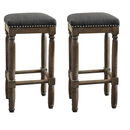 Set Of Two Renate Grey Rustic Reclaimed Wood Bar Stools  : 15072617 1 from www.ebay.com size 500 x 500 jpeg 52kB