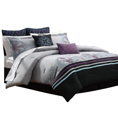 calisto 12 bed in a bag with sheet set purple grey