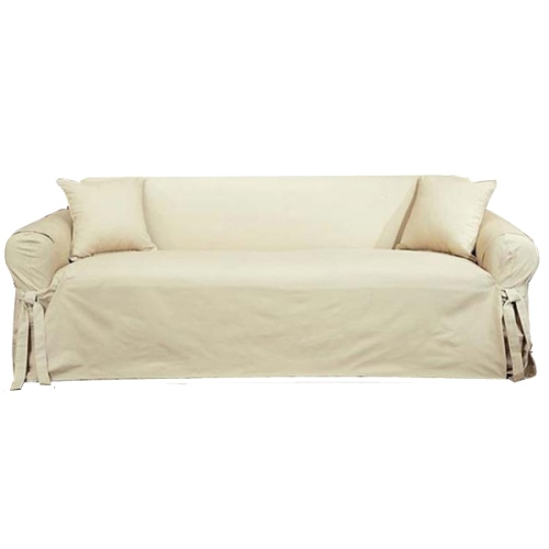 Sure Fit Cotton Duck Sofa Slipcover 100 Cotton Solid Natural Color Ebay