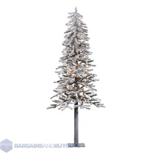 Flocked Alpine 72 Artificial Christmas Tree   Clear Mini Lights